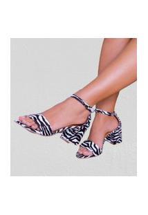 Sandália Delazari Salto Bloco Nobuck Zebra