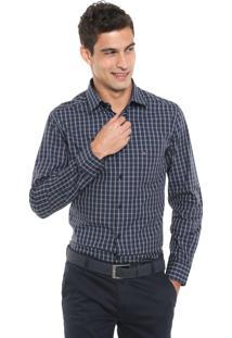 Camisa Aramis Reta Xadrez Azul-Marinho/Branca