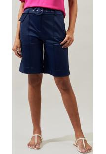 Bermuda Mx Fashion De Sarja Flaviane Azul Marinho - Tricae