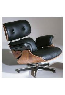 Poltrona Charles Eames Imbuia Couro Natural Preto 26605 26605