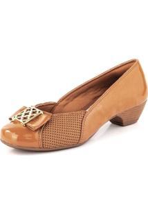 Sapato Salto Baixo Joanete Croche New Pele Ambar