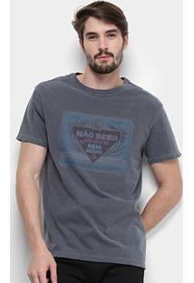 Camiseta Reserva Estampada Não Bebo Mais Masculina - Masculino-Cinza+Azul