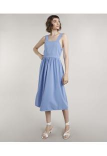 Vestido Feminino Mindset Midi Alça Larga Decote Reto Azul