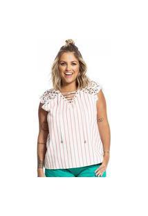 Blusa Feminina Listrada Secret Glam Laranja