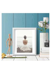 Quadro Decorativo Com Moldura Bailarina Branco - 20X25Cm