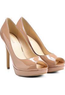0bfddfcd9b ... Peep Toe Shoestock Meia Pata - Feminino-Nude