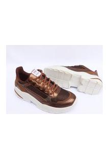 Tenis Via Marte Feminino Sneaker Chunky Slip On Sapatenis 1026 Bronze