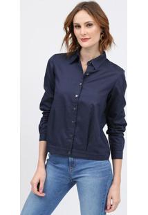 Camisa Com Pespontos - Azul Marinho & Brancascalon