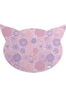 Tapete Pet Mdecore Cabeça De Gato Floral Rosa 54X39Cm