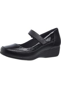 Sapato Anabela Doctor Shoes 3144 Preto Verniz