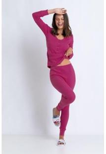 Conjunto De Pijama Acuo Longo Canelado De Algodão Feminino - Feminino-Rosa
