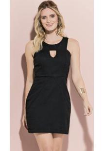 Vestido Quintess Curto Preto Com Recortes
