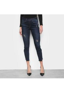 Calça Jeans Calvin Klein Mid Rise Skinny Feminina - Feminino-Marinho