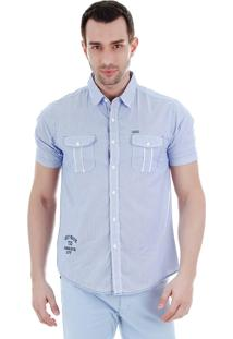 Camisa Casual Masculina Ocean Bay - Azul