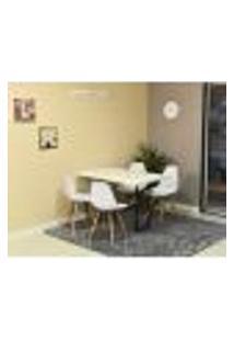 Conjunto De Mesa Dobrável Retrátil 120 X 75 Branca + 4 Cadeiras Eiffel - Branca