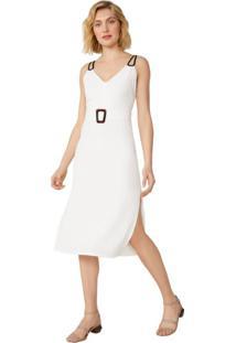 Vestido Midi Alcinha Dupla Fenda Lateral