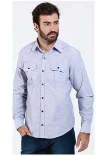 Camisa Masculina Bolsos Manga Longa Marisa