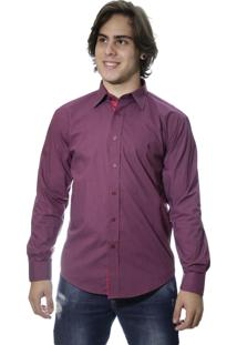 Camisa Zimpool Social Slim Fit Manga Longa Vinho