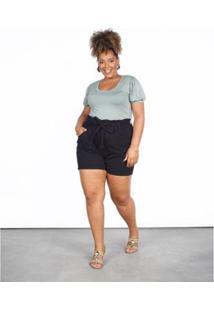 Bermuda Sarja Besni Plus Size Clochard Feminina - Feminino-Preto