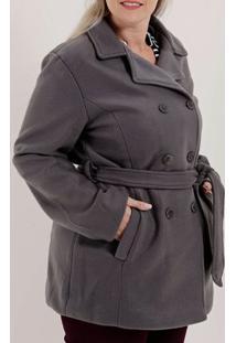 Casaco Plus Size Feminino Cinza