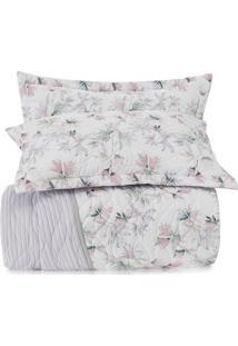 Conjunto De Colcha All Design Floral Casal- Branco & Rosaltenburg