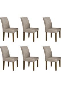 Conjunto Com 6 Cadeiras Olímpia Ipê E Pena Palha