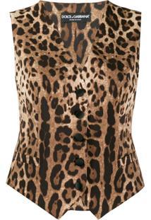 Dolce & Gabbana Colete Com Estampa De Oncinha - Marrom