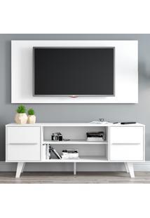 Rack Madesa Copenhagen E Painel Para Tv Atã© 55 Polegadas Branco - Branco - Dafiti