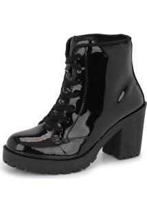 Bota Tratorada Cano Baixo Cr Shoes Salto Verniz 1700L Preto - Preto - Feminino - Dafiti