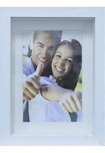 Porta Retrato Em Madeira Caixa Liso 18X13Cm Branco