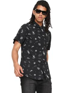 Camisa Billabong Reta Sunday Mini Preta
