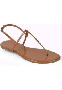 Rasteira Mercedita Shoes Verniz Lisa Feminina - Feminino-Caramelo