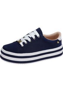 5363c9811f ... Tênis Plataforma Lu Fashion Sola Alta Listrada Azul Marinho