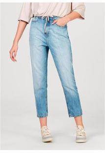 Calça Feminina Mom Em Jeans De Algodão Com Bolsos - Feminino-Azul