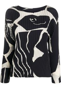 Issey Miyake Graphic Patterned Pleated Blouse - Preto