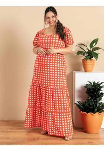Vestido Plus Size Xadrez Vermelho Com Babado