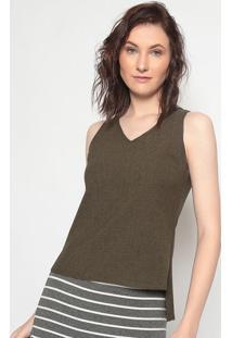 Blusa Texturizada- Verde Escuro- Linho Finolinho Fino