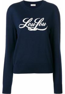 Saint Laurent Blusa De Moletom 'Lou Lou' De Tricot - Azul