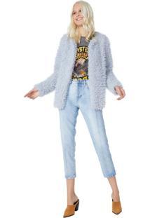 Calça Jeans Reta Recorte Frontal