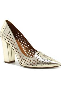 Sapato Cecconello Scarpin Vazado Metalizado - Feminino-Dourado