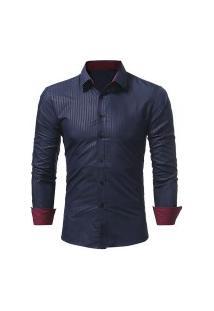 Camisa Social Masculina Slim 1399-5230 - Azul Escuro