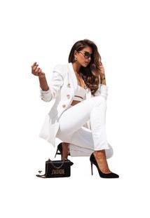 Blazer Feminino Clássico Alfaiataria Atemporal Chique Preto Tipo Balmain Maravilhoso Branco
