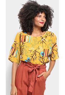 Blusa Top Moda Alongada Floral Feminina - Feminino-Amarelo