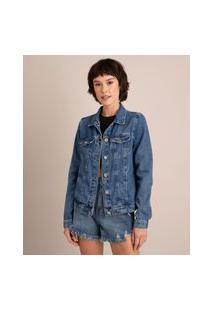 Jaqueta Jeans Com Bolsos Azul Médio