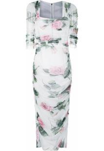 Dolce & Gabbana Vestido Midi Com Padronagem Floral - Branco
