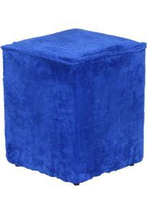 Puff Cubo Pelúcia Azul