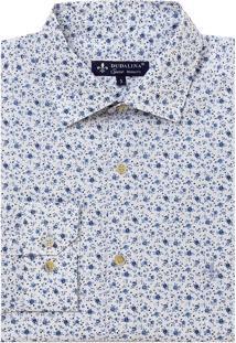 Camisa Dudalina Manga Longa Tricoline Estampa Floral Masculina (Estampado, 4)