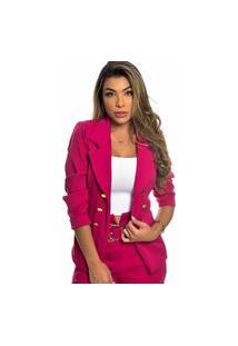 Blazer Feminino Botões Dourados Estilo Balmain Top Qualidade Acinturado Moderna Rosa