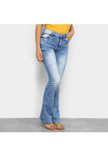 Calça Jeans Flare Zune Estonada Clara Cintura Média Feminina - Feminino-Azul
