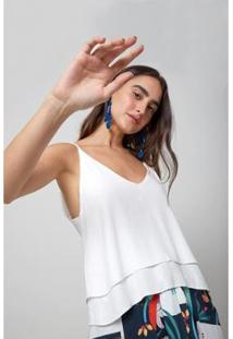 Blusa Alcinha Babado Oh, Boy! Feminina - Feminino-Off White